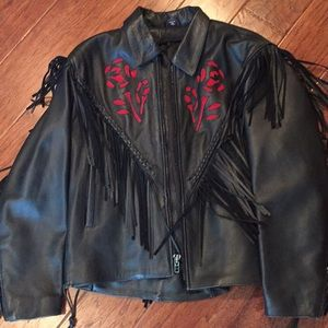 Ladies XL leather coat with red leather